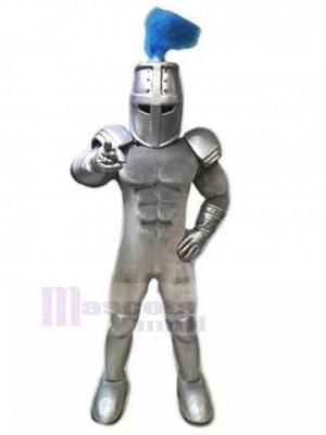 Argent Templier chevalier avec pompon bleu Costume de mascotte personnes