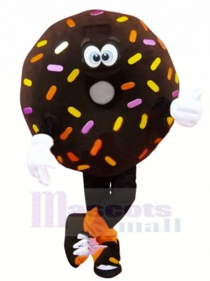 Drôle marron Donut Mascotte Costume Dessin animé