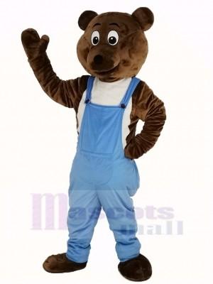 Foncé marron Ours dans Bleu Salopette Mascotte Costume Animal