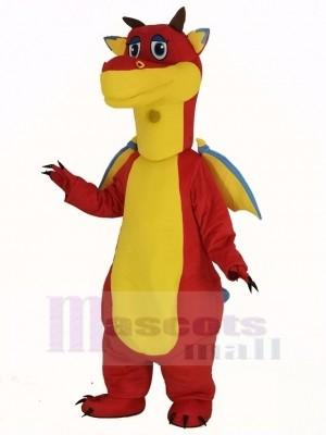 rouge Dragon avec Bleu Ailes Mascotte Costume Animal