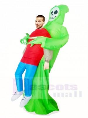 vert Démon Le crâne Porter moi Squelette Gonflable Halloween Noël Les costumes pour Adultes