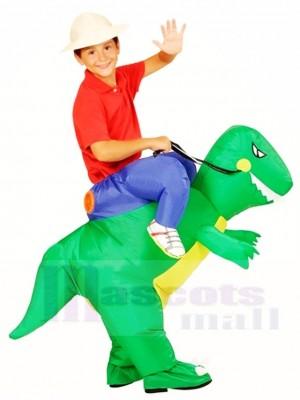 vert Dinosaure Porter moi Balade Sur T-rex Gonflable Halloween Noël Les costumes pour Des gamins