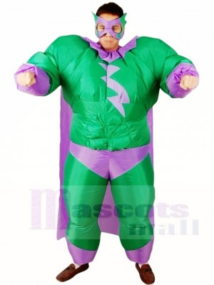 Graisse Superman vert Super héros Gonflable Halloween Noël Les costumes pour Adultes