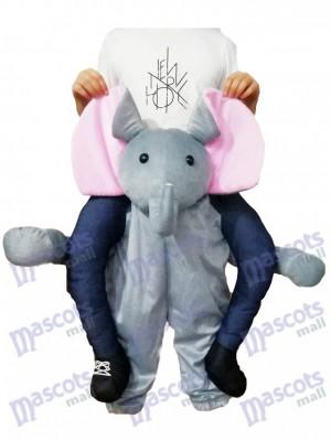 Piggyback Elephant Carry Me Ride Costume de mascotte d'éléphant gris