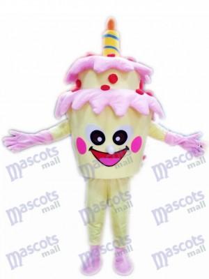 Gâteau d'anniversaire à deux couches avec Costume de mascotte de bougie Dessert de nourriture