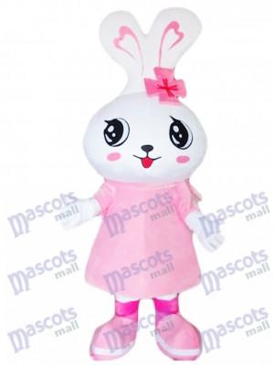 Grande tête rose lapin lapin de Pâques mascotte Costume Animal