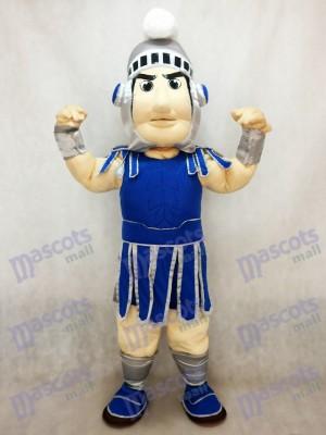 Costume de mascotte Sparty Knight Spartan bleu foncé avec casque en argent