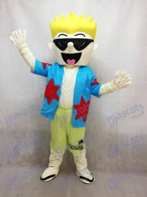 Cool Costume de mascotte de lunettes de soleil garçon en chemise bleue