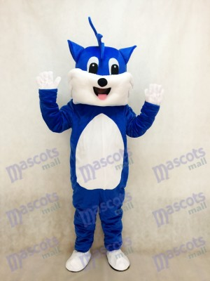 Costume de mascotte adulte chat bleu avec animal ventre blanc