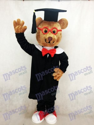 Costume de mascotte Bernard Bear avec verres à monture rouge Animal