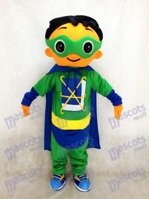 Super mascotte de super héros avec un costume de cape verte