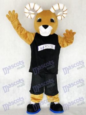 Costume de mascotte de l'équipe sportive Ram Ryerson en costume noir