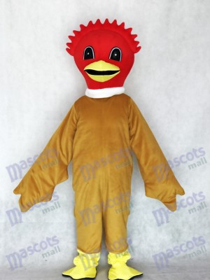 Costume mascotte belle oiseau écarlate avec animal corps brun