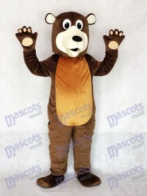 Costume de mascotte de grand-père ours brun
