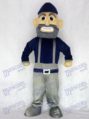 Costume de personnage mascotte bleu marine et gris marine