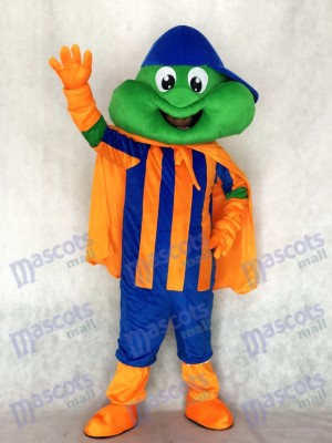 Grenouille heureuse avec chapeau bleu et costume de mascotte du Cap Orange Animal