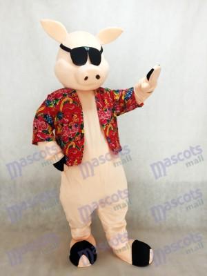 Porc Piglet Hog avec Costume de mascotte chemise et lunettes de soleil