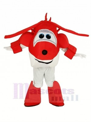 rouge Avion Jett Super Ailes Avion Mascotte Costume Dessin animé