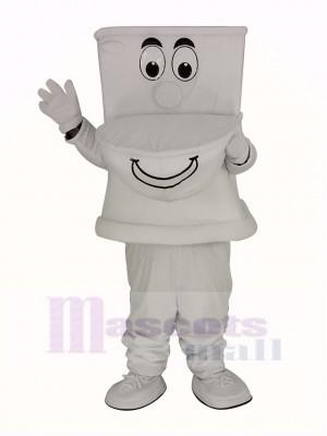Drôle blanc Toilette Mascotte Costume