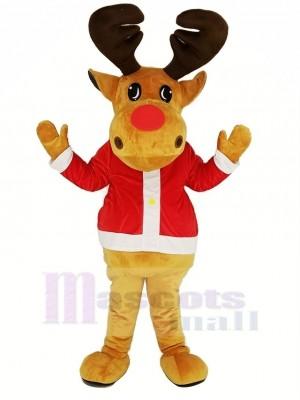 marron Renne avec rouge Manteau Mascotte Costume Noël