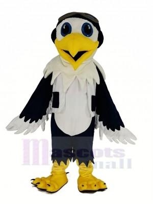 Bleu et blanc Aigle avec Gilet As Pilote Oiseau Mascotte Costume Animal