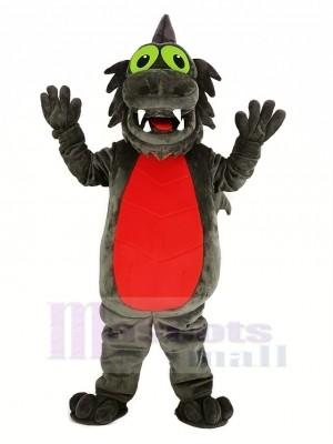 gris Dragon avec rouge Ventre Mascotte Costume Animal