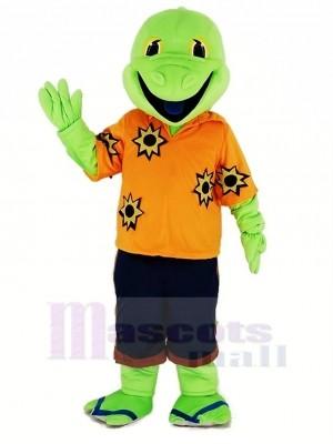 vert Lézard avec Orange T-shirt Mascotte Costume Dessin animé