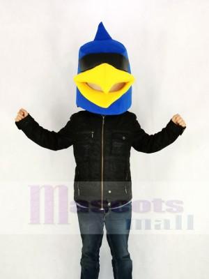 Bleu Oiseau Seulement Tête Mascotte Costume Dessin animé
