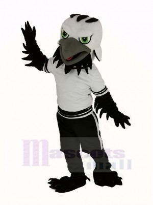 Noir Aigle Faucon avec vert Yeux Mascotte Costume