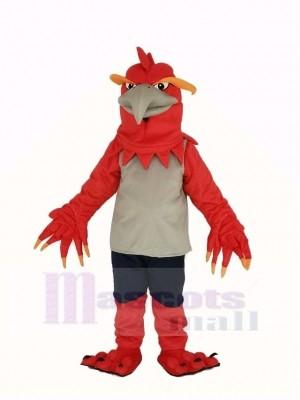 rouge Phénix dans gris Gilet Mascotte Costume Animal