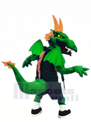 vert et Orange Dragon avec Ailes Mascotte Costume Dessin animé