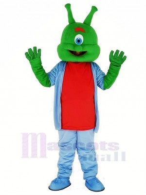 vert Extraterrestre dans Bleu Mascotte Costume Dessin animé