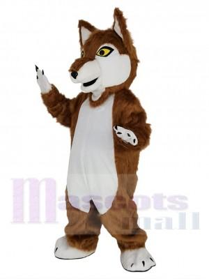 Loup brun avec Les yeux jaunes Costume de mascotte Animal