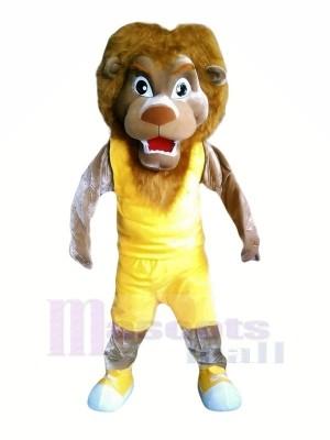 Lion avec Jaune Gilet Mascotte Les costumes Pas cher