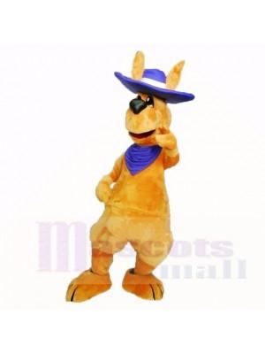 Amical Adulte Kangourou avec Bleu Chapeau Costumes De Mascotte Adulte