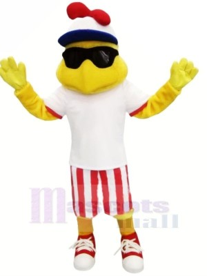Mode poulet avec blanc T-shirt Mascotte Les costumes Animal