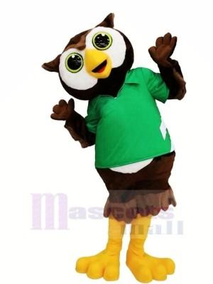 Charmant Hibou avec vert T-shirt Mascotte Les costumes