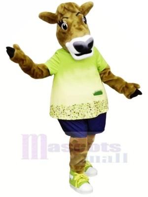 Gurt Vache avec vert T-shirt Mascotte Les costumes