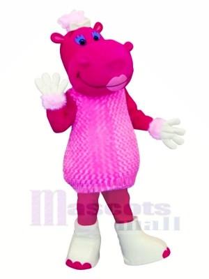 Rose Hippopotame dans Robe Mascotte Les costumes Dessin animé
