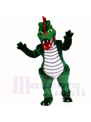 vert Dinosaure avec Violet Chemise Costumes De Mascotte Dessin animé
