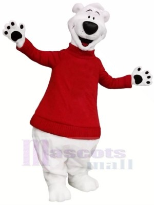 Polaire Ours avec rouge Chandail Mascotte Les costumes Adulte