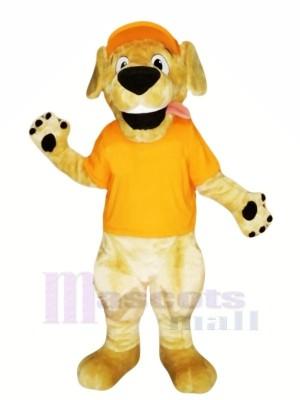 Retriever Chien avec Orange T-shirt Mascotte Les costumes Dessin animé