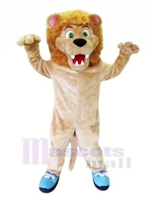Féroce Lion avec Bleu Des chaussures Mascotte Les costumes Adulte