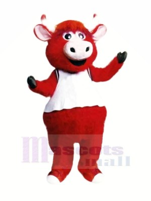 Rouge Taureau Avec Blanc Gilet Mascotte Les costumes Dessin animé