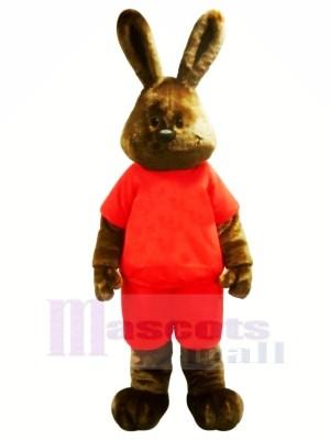 Heureux marron lapin Mascotte Les costumes Adulte