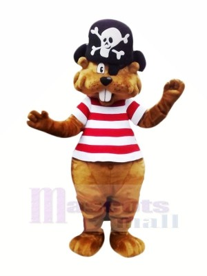 Pirate marron Castor Mascotte Costume Dessin animé