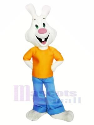 blanc lapin avec Orange T-shirt Mascotte Les costumes