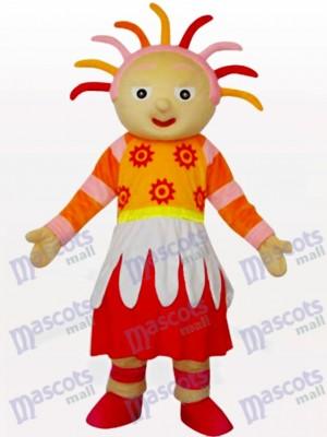 Costume de mascotte de dessin animé de soleil brillant fille