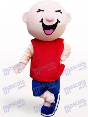 Costume de mascotte adulte de dessin animé tête ronde garçon