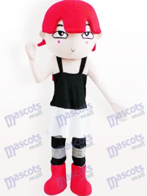 Costume de mascotte adulte de dessin animé aux cheveux rouge